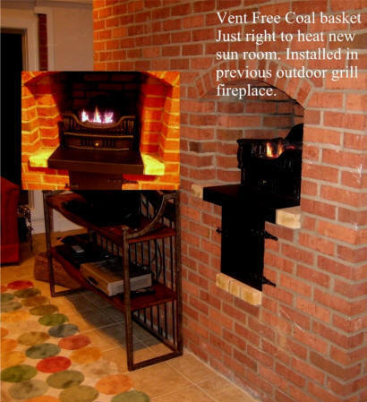 Gas Coal grate in small grill fireplace